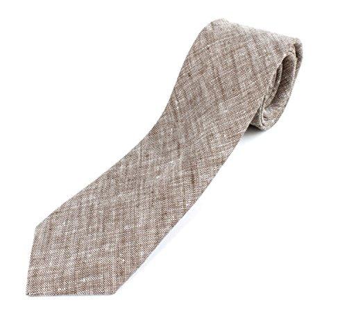 (Men's Cotton Linen Skinny Necktie Tie Sand Wash Solor Color Pattern - Dark Brown)
