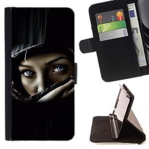 Momo Phone Case / Flip Funda de Cuero Case Cover - Casco del polluelo del motorista muchacha mujer Negro - Samsung Galaxy S5 V SM-G900