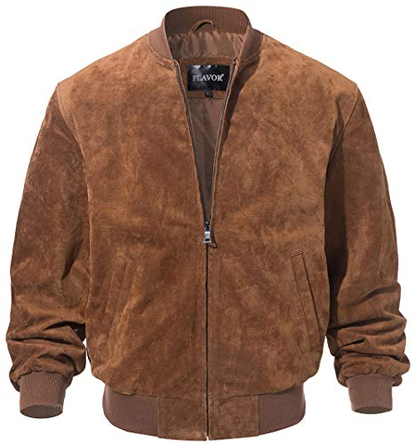 FLAVOR Men's Leather Baseball Jacket Vintage Suede Pigskin (Small, Brown) ()
