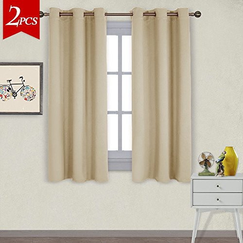 NICETOWN Thermal Insulated Grommet Room Darkening Curtains Draperies Panels For Bedroom 2 W42 X L63 Inch Beige