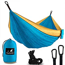MalloMe Camping Hammock with Ropes – Double & Single Tree Hamock Outdoor Indoor 2 Person Tree Beach Accessories – Backpacking Travel Equipment Kids Max 1000 lbs Capacity – Two Carabiners Free