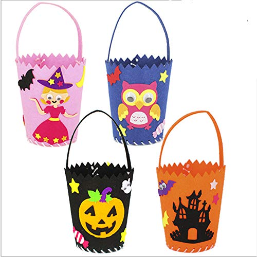 HappyEnjoy 4 Pcs Halloween Candy Bags with Handle for Trick-or-Treating, Halloween Party Favors, Halloween Snacks, Halloween Goodie Bags, Bucket Decoration, Candy Pails (DIY)