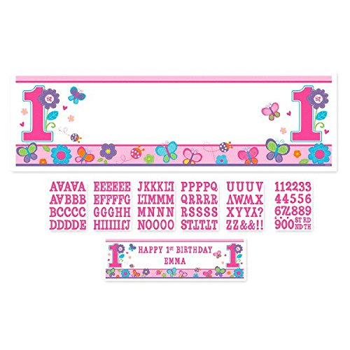 Amscan Sweet Birthday Girl 1st Birthday Personalized Giant Sign Banner, 65