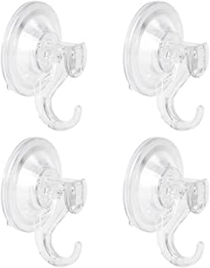 WISH Suction Cup Hooks Hanger for Hanging Home Kitchen Bathroom Necessities Decorations (4 Pack)