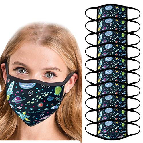 ThsiJJ 10PC Unisex Washable and Reusable Soft Cotton Material Cartoon Pattern Face Bandanas for Outdoor Navy