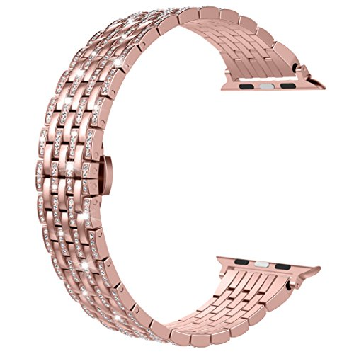 Wearlizer Rose Gold Compatible with Apple Watch Band 38mm 40mm iWatch Luxury Bling Rhinestone Diamond Crystal Strap Lightweight Aluminum Wristband Dressy Bracelet Replacement Series 4 3 2 1 Edition ()