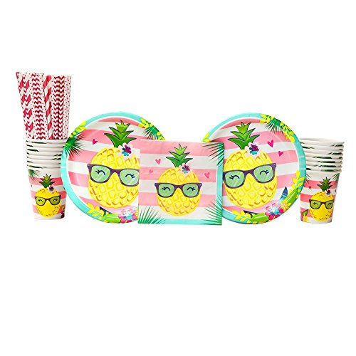 Cedar Crate Market Pineapple n' Friends Birthday Party Supplies Pack for 16 Guests: Straws, Dinner Plates, Luncheon Napkins, and Cups