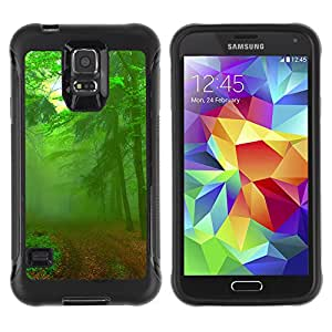 Pulsar Defender Series Tpu silicona Carcasa Funda Case para SAMSUNG Galaxy S5 V / i9600 / SM-G900F / SM-G900M / SM-G900A / SM-G900T / SM-G900W8 , Green Forest Road