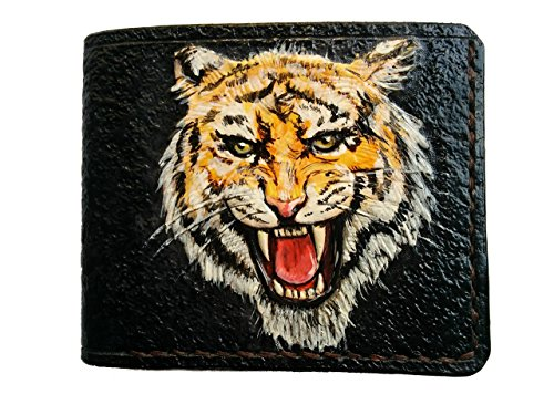 Men's 3D Genuine Leather Wallet, Hand-Carved, Hand-Painted, Leather Carving, Custom wallet, Personalized wallet, Tiger wallet, Bengal Tiger by Theodoros