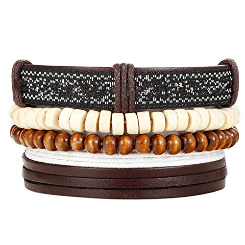 Bead Leather Bracelets & Bangles For Woven 3/4 Pcs 1 Set Multilayer Wristb Vintage H made Bracelet as picture 16