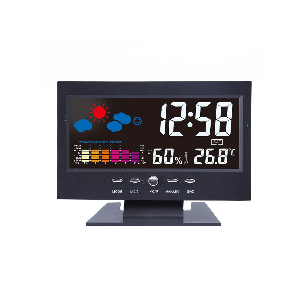 Topker Farbige Digital ° C / ° F Temperatur Luftfeuchtigkeit Uhr Thermometer Hygrometer Wettervorhersage Vioce-aktivierte Hintergrundbeleuchtung