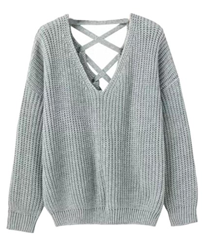 Sweat V Gery Pullover Neck M Lace Pullover Tops amp;S amp;W Women's Up Knitted SHU6tq