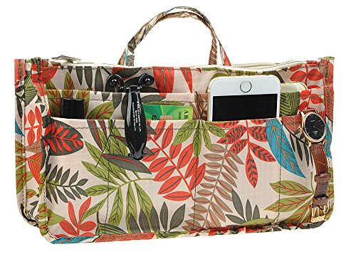 Vercord Printed Purse Handbag Tote Insert Organizer 13 Pockets With Zipper and Handles 2 Size, Rainforest