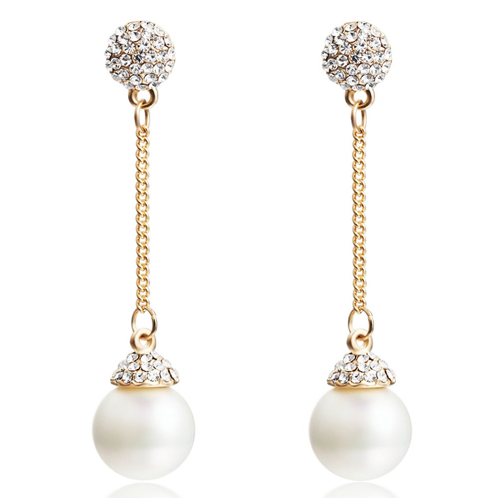 Snowskite Elegant Jewelry Ladies Champagne Gold Long Crystal Pearl Drop Earrings JKED003LB-2