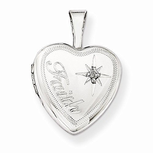 Sterling Silver Polished Patterned Holds 2 photos and Diamond Faith 12mm Heart Locket ()