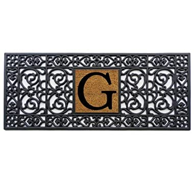 Home & More 170011741G Doormat, 17  x 41  x 0.60 , Monogrammed Letter G, Black