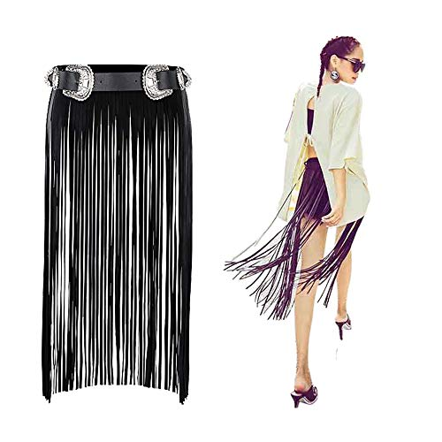 VITORIA'S GIFT Double buckles Hippie Boho Fringe Tassel Black Faux PU Long Belt Skirt,Medium (Fell In Love With A Shooting Star)