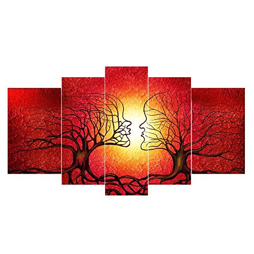 LynHee Red Tree Human Body Contemporary Abstract Giclee Canvas Prints Wall Art Ready to Hang for Living Room Bedroom Home Decorations 5pcs/set