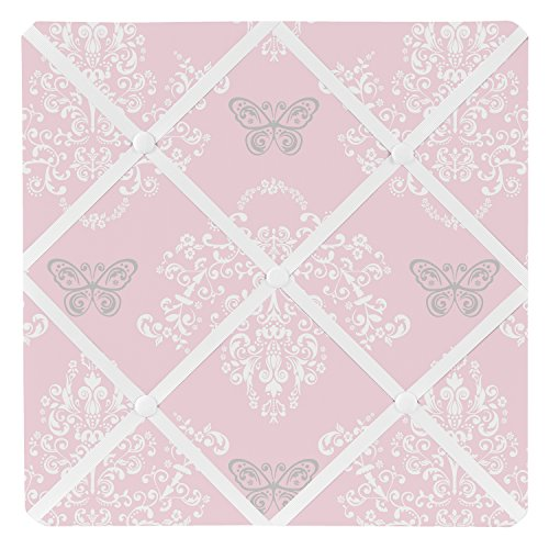 Sweet Jojo Designs Pink and Gray Damask Butterfly Fabric Memory/Memo Photo Bulletin Board For Alexa Collection by Sweet Jojo Designs