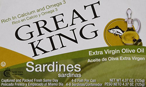 Great King Sardines in Extra Virgin Olive Oil, 4.37 Ounce (Pack of 24)