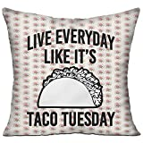 Hgjoafnkln Live Everyday Like It's Taco Tuesday Microfiber Pillow 1818 Inch Double-Sided (Including Pillow)