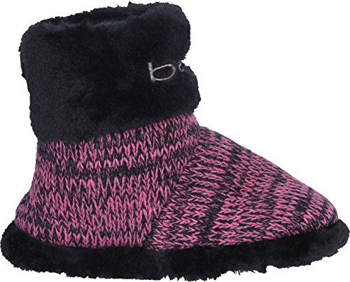 bebe Girl\'s Knit and Faux Fur Slipper Boots Embroidery, Black/Fuchsia, 11-12 M US Little Kid'