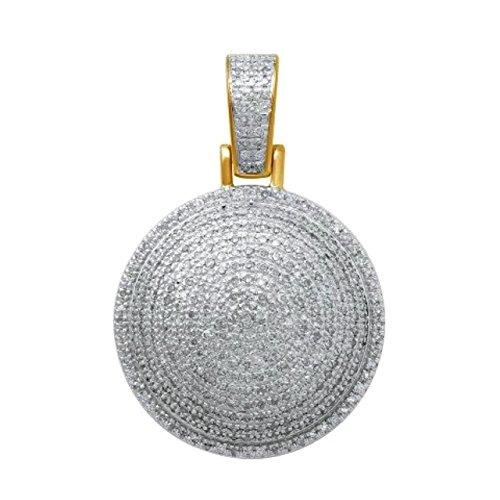 10K Gold 0.48ctw Diamond Disc Pendant Round Cluster Mens or Womens Fashion Charm 26mm Tall (i2/i3, i/j) Diamond Round Disc Charm