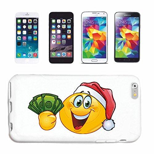 """cas de téléphone iPhone 7S """"SMILEY AS SANTA AVEC L' ARGENT """"SMILEYS SMILIES ANDROID IPHONE EMOTICONS IOS sa sourire EMOTICON APP"""" Hard Case Cover Téléphone Covers Smart Cover pour Apple iPhone en blan"""