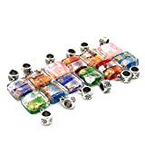 Beautiful Bead 10 pcs Square Lampwork Glass Pendant Dangle Beads for Bracelets Necklace