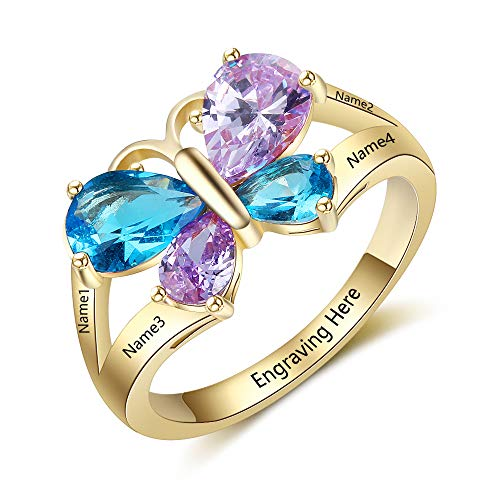 Ashleymade Personalized Engraved Name Rings for Mothers Day Rings with 4 Simulated Birthstones Promise Butterfly Ring for Women (Gold, 8)