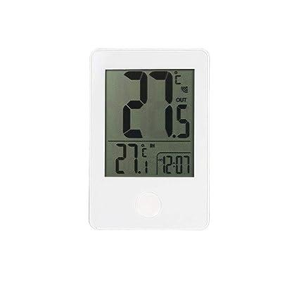 SX Temperatura Interior y Exterior e higrómetro, Reloj Digital electrónico inalámbrico (Color : Blanco