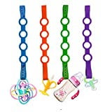 SmartUlife Updated Silicone Pacifier Clip, Bidirectional Buckle Design Silicone Toy Chain Available in Strollers, Cars, Hanging Baskets, Cribs for Girl/Boy