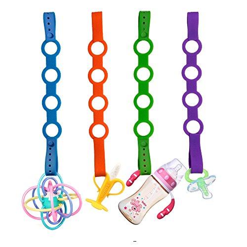 SmartUlife Updated Silicone Pacifier Clip, Bidirectional Buckle Design Silicone Toy Chain Available in Strollers, Cars, Hanging Baskets, Cribs for Girl/Boy by SmartUlife