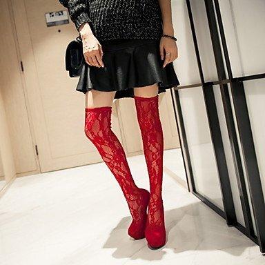 LFNLYX Mujer-Tacón Stiletto-Plataforma / Botas a la Moda-Botas-Boda / Vestido / Fiesta y Noche-Encaje / Semicuero-Negro / Rojo Red