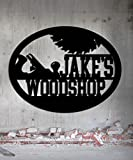 Woodshop Woodworker - Custom Metal Shop Sign - Metal Wall Art Great Gift Made In USA Carpentry Wood Worker Steel Sign