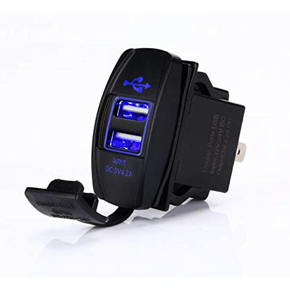 eb88eda8 4.2 AMPS-Fast Dual USB Charger Rocker Switch Style Blue LED Back-lit for