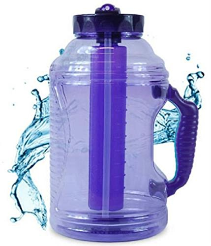 reeze Water Bottle w/ Handle Straw and Ice Pack (Purple) ()