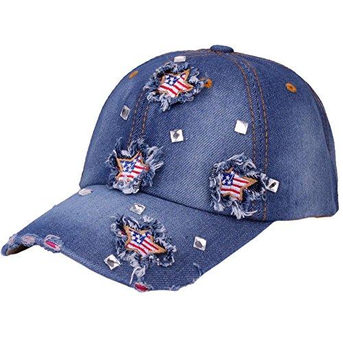(CRUOXIBB USA Baseball Cap Star Flag Denim Jean Cowboy Hat Rhinestone Snapback Men Women (Blue 3#))