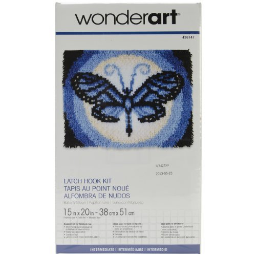 Spinrite Wonderart Latch Hook Kit, 15 by 20-Inch, Butterfly Moon by (Butterflies Latch Hook Kit)
