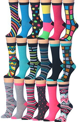 Tipi Toe Women's 18-Pairs Value Pack Colorful Crazy Funky Fashion Crew Socks, (sock size 9-11) Fits shoe size 5-9, WC61