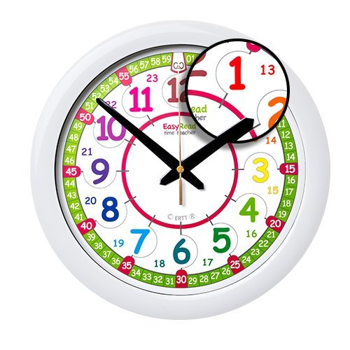 EasyRead Time Teacher Children's Wall Clock, 12 & 24 Hour with silent movement. Learn to tell the time in 2 simple steps, for children age 5-12.
