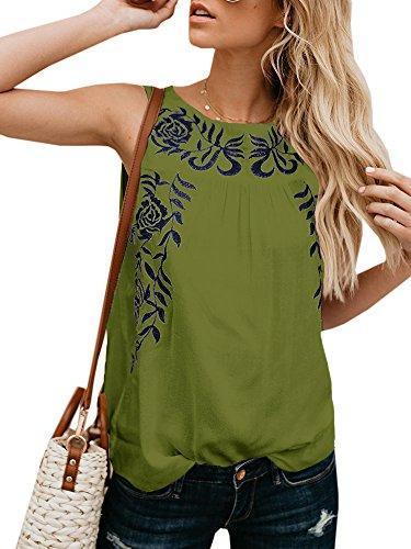 Faisean Womens Floral Print Bohemian Sleeveless Tank Tops Girls Casual Shirts ()