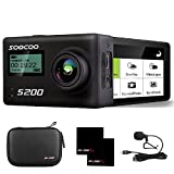 4K Sports Action Camera 2.45' LCD Touchscreen Voice Control SOOCOO S200 20MP Ultra HD WIFI Waterproof 170 Degree Wide-Angle Lens with Remote Control/External Mic/2 Batteries/Travel Bag-Black