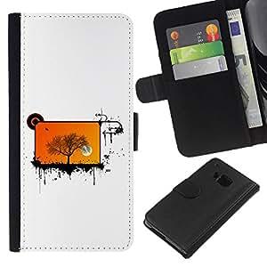 EJOY---La carpeta del tirón la caja de cuero de alta calidad de la PU Caso protector / HTC One M9 / --Resumen de pantalla Orange Tree