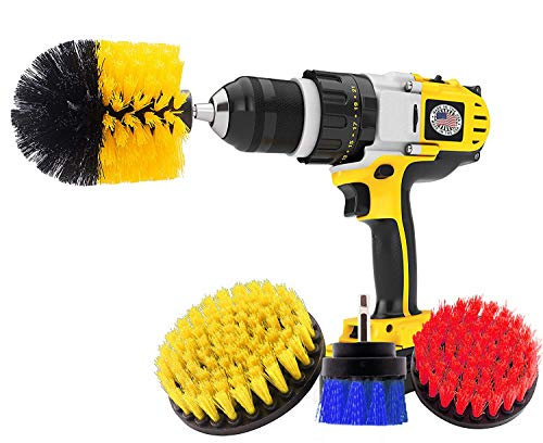 Four Brush - 4 Piece Power Drill Brush, Power Scrubber Attachment Set for Cleaning, All Purpose Cleaning Brushes for Bathroom, Grout, Shower, Pool Tiles, Flooring, Tub, Ceramic, Grout, Kitchen Surfaces, Corners