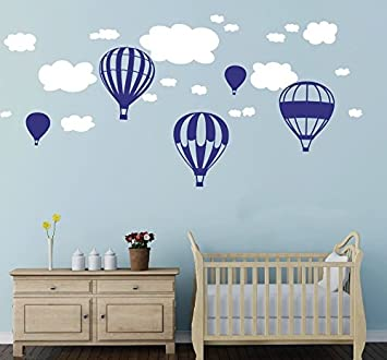 Beautiful Hot Air Balloons Clouds Wall Stickers Boys And Girls Nursery Baby Room  Wall Vinyl Decor