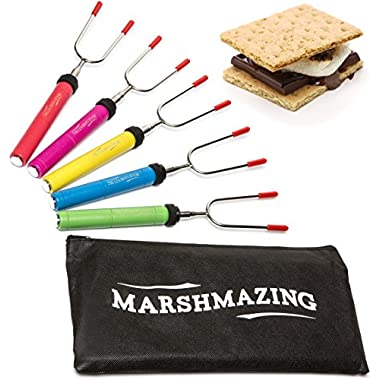 Premium Marshmallow Roasting Sticks Set of 5 Telescoping Smores Skewers & Hot Dog Fork Stainless Steel Non Toxic Child Friendly BPA Free Camping Cookware For Kids and Adults FREE Canvas Pouch
