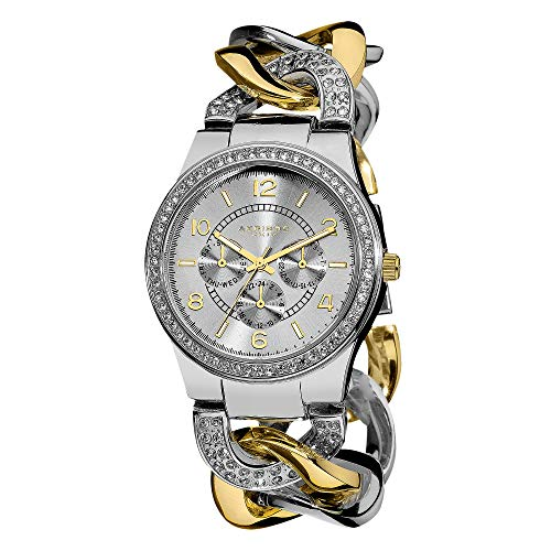 Akribos XXIV Women's Crystal Multifunction Watch - Genuine Crystals On Bezel and Bracelet- 3 Subdials, Day, Date and GMT On Twist Chain Link Bracelet - AK558 (Akribos Watch Links)