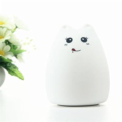GS Creative Cute Cat Animal Veilleuse LED multicolores en silicone doux Chambre d'enfant sensibles Tap Control lampe de chevet double modes d'éclairage pour enfant bébé Chambre à coucher lampe anni