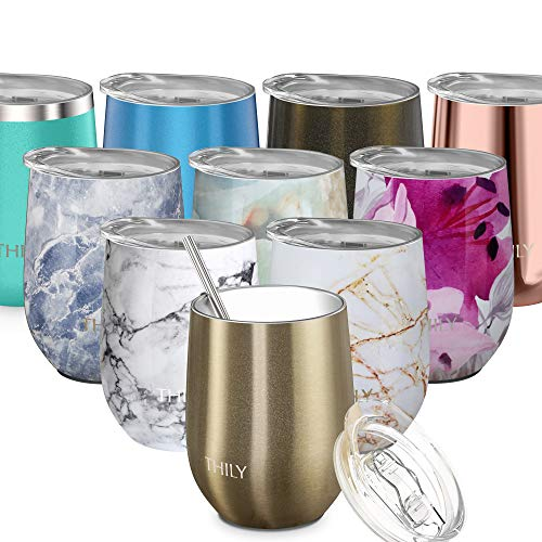 Stainless Steel Insulated Wine Tumbler - THILY Stemless Wine Glass with Lid and Straw, BPA Free, Cute Travel Tumbler Cup for Coffee, Wine, Cocktails, Birthday Christmas Gift, Sparkle Champagne